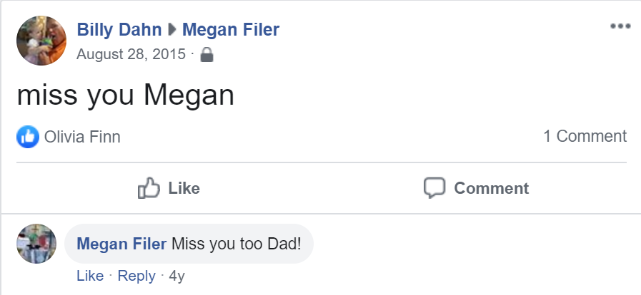 Facebook message from my dad 4 years ago, anniversaries of missing one another